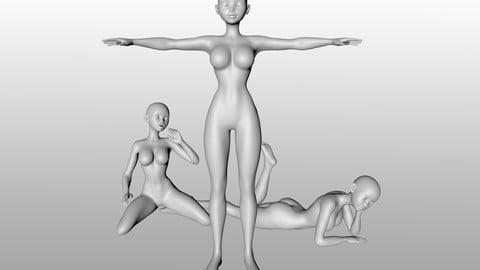 Base Stylized Woman Figure - Rigged