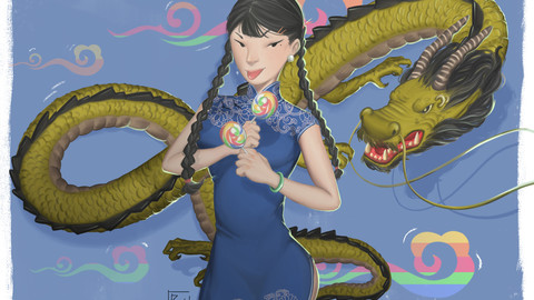 China girl &Dragon