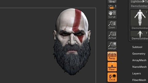 Zbrush 2020 GOW4 Kratos Head CamView FREE