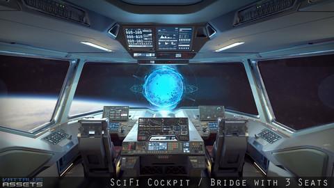 Sci Fi Fighter Cockpit Bridge 6 Low-poly 3D model
