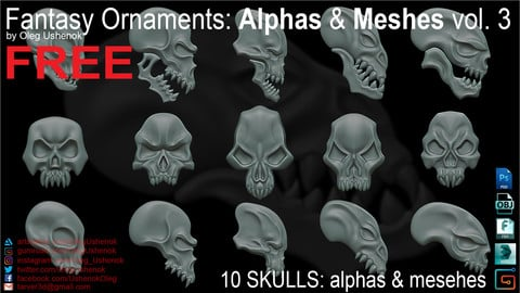 FREE Fantasy Ornaments: Alphas & Meshes vol 3
