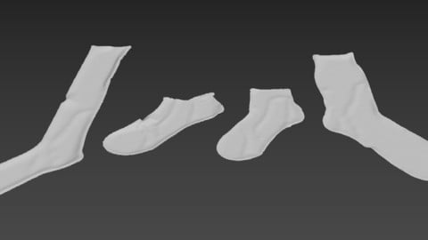 pack 4 sock socks calcetin calcetines foot footwear wear 3D model