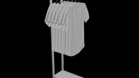 unisex woman women man men tshirt shirt rack folded hanging 3D model
