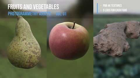 Fruits and vegetables pack - photogrammetry 3d assets vol. 01