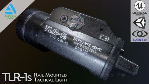 TLR-1s Rail Mounted Tactical Light (Game Ready - Low Poly / Accessory)