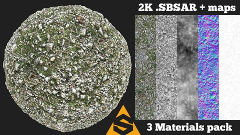 Rocky Mossy Forest Ground Material Pack