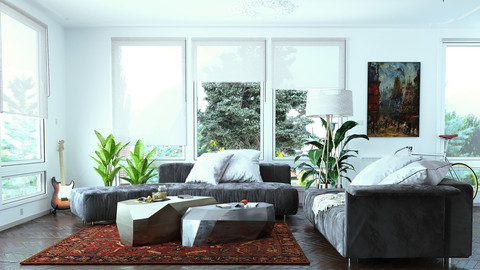 Living Room Corona render