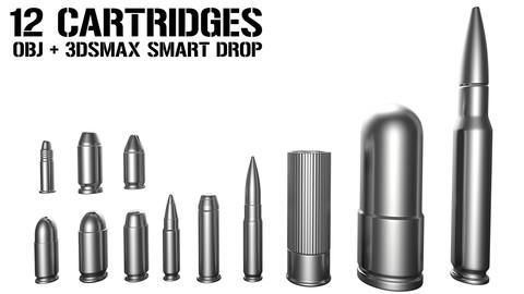 12 Cartridges - 3dsmax drag and drop + OBJ