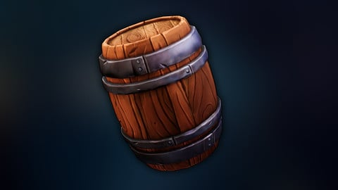 Game-ready Stylized Barrel Prop