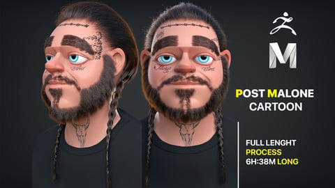 POST MALONE 3D CARTOON FULL PROCESS