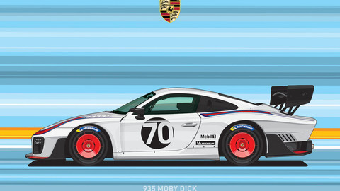 PORSCHE 935/THE CREATE CAR FLAT VECTOR FROM PHOTOS