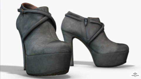 Female Leather Short Boots - Photoscanned PBR