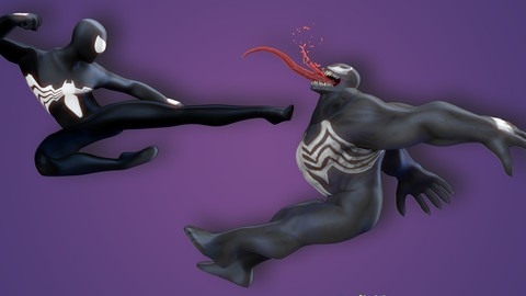 Spiderman Black vs Venom - Fan art