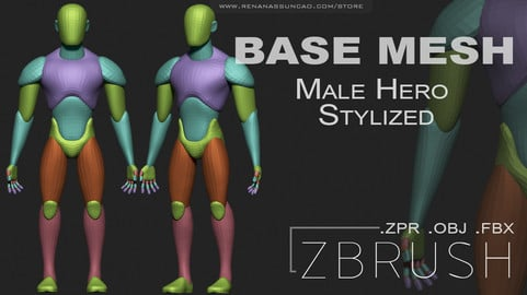 Male Hero Stylized Base Mesh