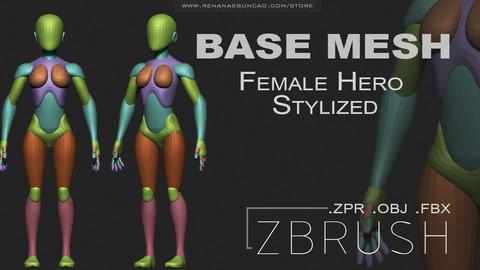 Female Hero Stylized Base Mesh