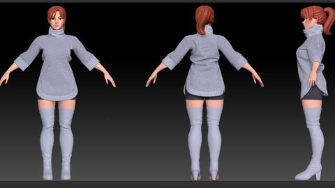 ZBrush Stylized Character Female Base Mesh No18 Style 5