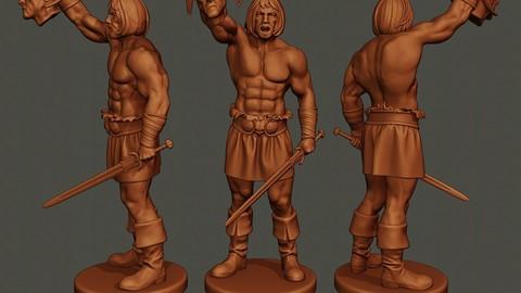 Male Barbarian 2HSword  Cut Head2