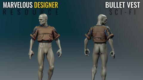 Scifi Bullet Vest - Bounty Hunter - Marvelous Designer Resource