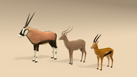 Low Poly Cartoon African Antelopes Pack