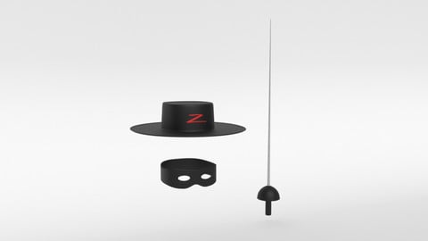 Cartoon Zorro Hat Mask and Sword