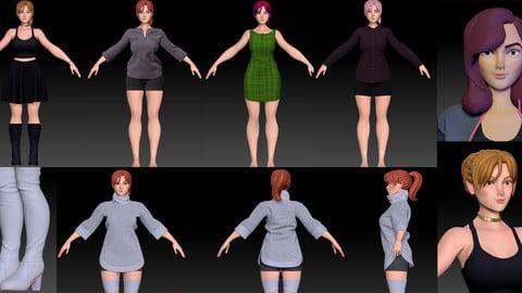 6 Zbrush Stylized Female Character Base Mesh