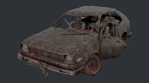 Apocalyptic Damaged Destroyed Vehicle Car Game Ready 01