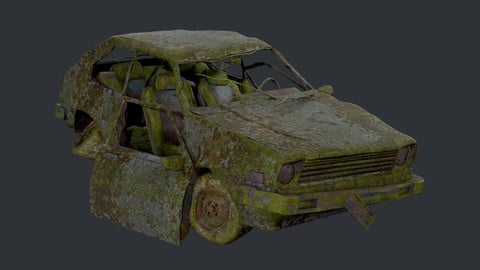 Apocalyptic Damaged Destroyed Vehicle Car Game Ready 03
