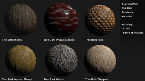 6 Tree Bark Customizable Material