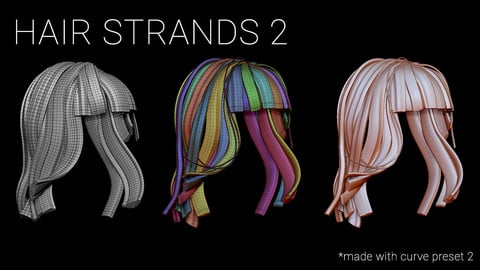 Hair Strands 2, IMM Curve Brush. UV Unwrapped.