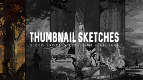 Environment Thumbnail Sketches - Full Video process + Photoshop Brushes