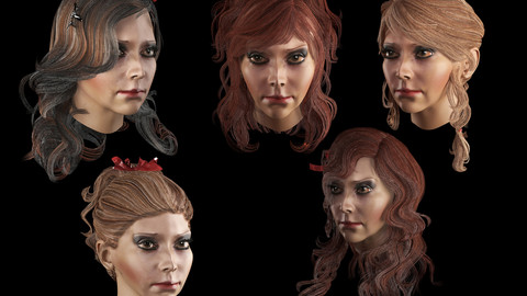 Set female hairstyle 5 species