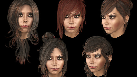 Set female hairstyle 5 species