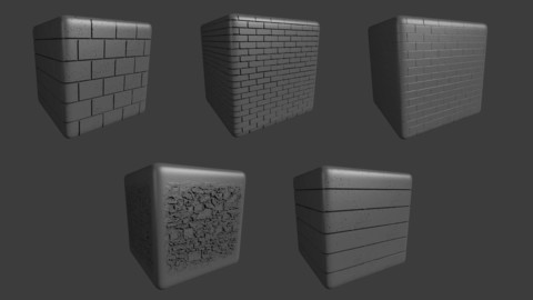 ZBRUSH 5 Realistic Masonry Brick Displacement Alpha Map Brushes