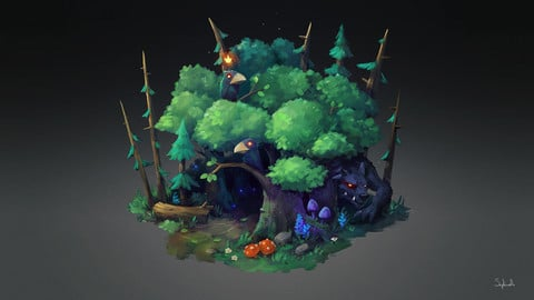 Isometric Dark Forest | VIDEO+PSD