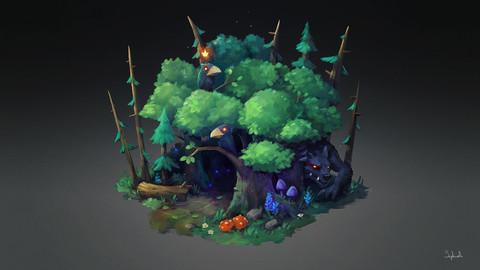 Isometric Dark Forest | VIDEO+PSD