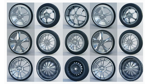 10 high detailed Car Wheels