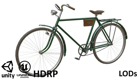 Game-ready Retro Bicycle Green - Customisable