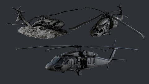 Sikorsky UH60 Black Hawk Military Helicopter Game Ready Pack 01