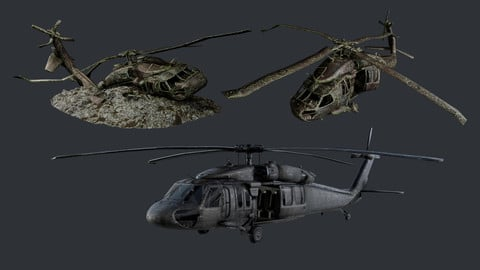 Sikorsky UH60 Black Hawk Military Helicopter Game Ready Pack 07