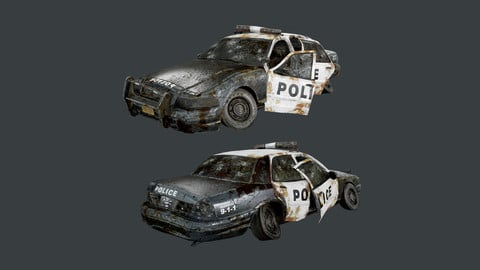 Vehicle Wrecked Police Car Game Ready