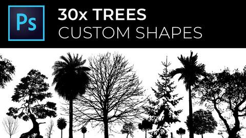 30x High Quality Trees Photoshop custom shapes