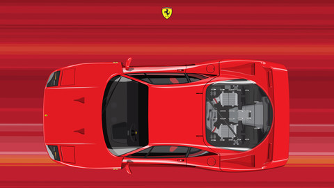 FERRARI F40/THE CREATE CAR FLAT VECTOR FROM PHOTOS