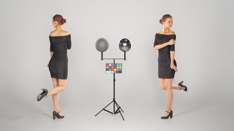 Beautiful girl in a black dress posing 114