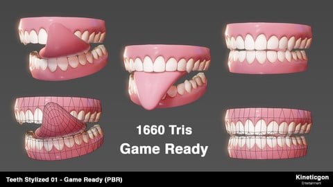 Teeth Stylized 01 - Game Ready PBR - Low-poly 3D model