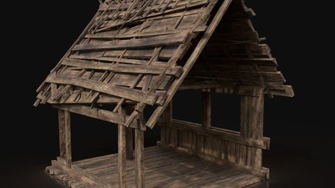 Wooden Roofing Cover Construction - Reed Hay Thatch Wood Storage