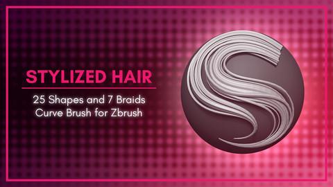 [IMM Brush] Stylized Hair Flakes and Braids Brush for Zbrush 2020