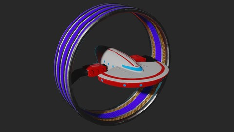 3D Model: Spaceship Warp Ring Yacht