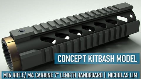 "M16 Rifle/ M4 Carbine 7"" Handguard Quad Rail Kitbash Model"