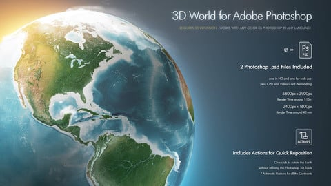 HD Earth 3D World for Adobe Photoshop
