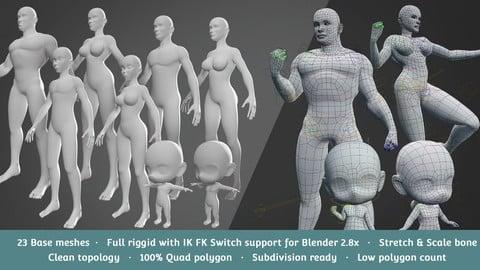 Base Meshes Character Starter Kit + Rig